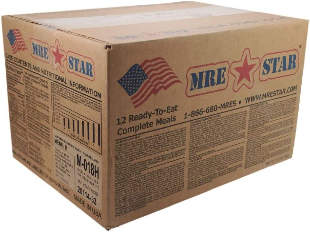 MRE STAR Survival Meal Box – Emergency Meals Ready to Eat with Accessories and FRH – Compact and Lightweight Packaging – Extended Shelf Life – 12 pcs Individual Fully-Cooked Meals