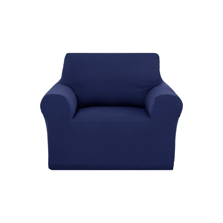 Deconovo Stylish Jacquard Pet Sofa Slipcover Solid Color Stretch Elastic Sofa Cover for Chair Sofa Cover Navy Blue