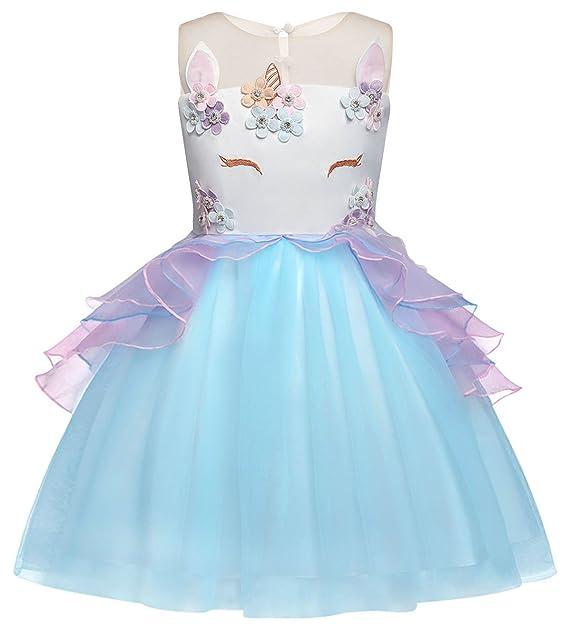 AmzBarley Vestido Princesa de Unicornio Fiesta Niña Tutu ...