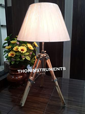 Desk Table Tripod Stand Lamp Solid Wood Table Lamp Base Only