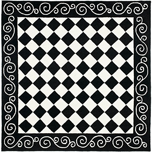 Safavieh Chelsea Collection HK711A Hand-Hooked Black and Ivory Premium Wool Square Area Rug (6′ Square) Review