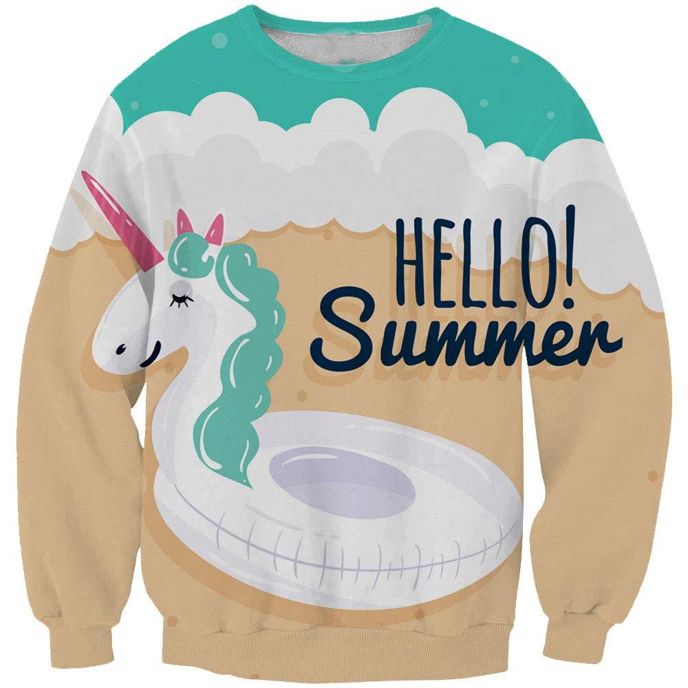 EnlaMorea Girls Hoodies Sweatshirts Adorable Unicorn Pullover Long Sleeve Top,Hello Summer,11-12 Years