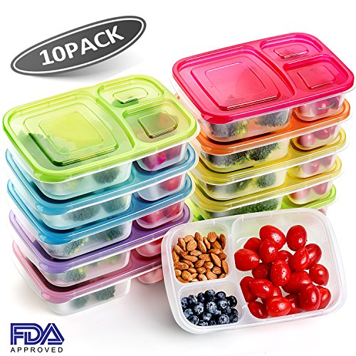 [10 Pack]Meal Prep Containers,3 Compartment Food Storage Containers,Microwave,Dishwasher,Freezer Safe