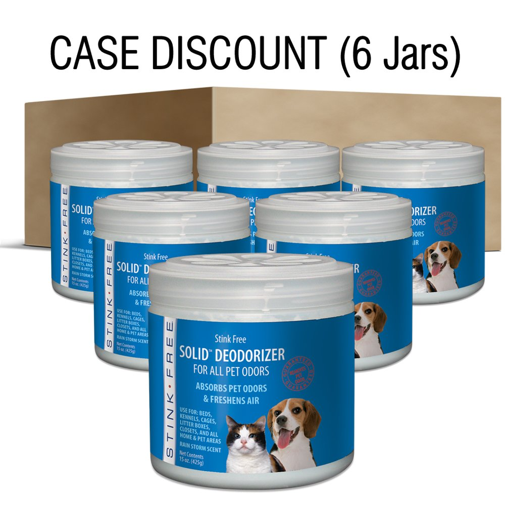Stink Free Solid Pet Odor Air Deodorizer, 6 Jars, 15 Oz. Ea.
