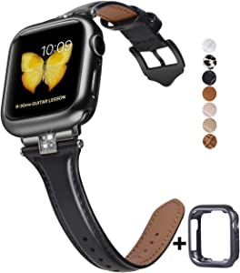 JSGJMY Slim Leather Bands Compatible with Apple Watch 38mm 40mm 42mm 44mm Women Top Grain Leather Strap with Diamond Rhinestone for iWatch SE/Series 6/5/4/3/2/1 (Black/Black, 42mm/44mm)