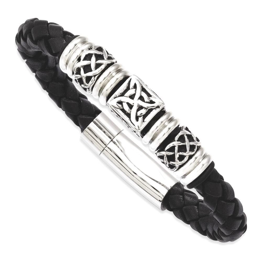 ICE CARATS Stainless Steel Black Leather Beads 8.5 Inch Bracelet Cord Leatrubber Men