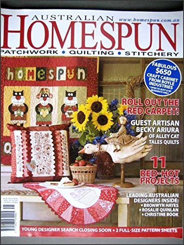 2007 Australian Homespun Magazine Volume 8, No.5, Issue 48, Hummingbird Pillow with Redwork Design, Strawberry Table Runner
