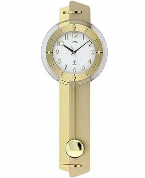 AMS 5267 de alarma de reloj de pared con péndulo de latón de aplicación en de madera de la pared posterior: Amazon.es: Hogar