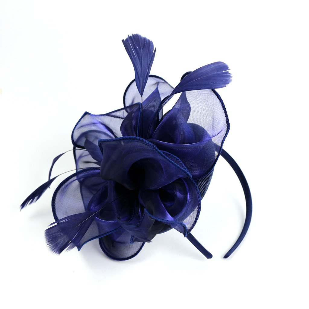 LATIMOON Derby Fascinator Hat Feather Cocktail Tea Party Headwear Dress Accessories Hair Clip for Women and Girls-Navy Blue