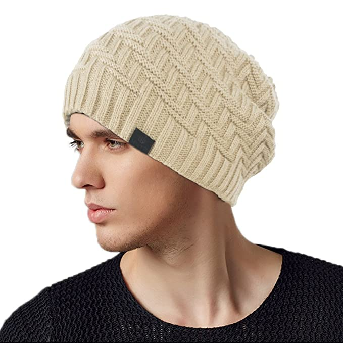 74f90e9d5535f Original One Winter Long Stocking Beanie Fleece Lined Knit Hat Loose Baggy Skull  Ski Cap (