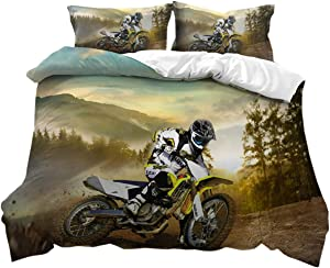 THEE Bed Sets for Boys Dirt Bike Motocross Bedding Duvet Cover Quilt Cover(Twin)