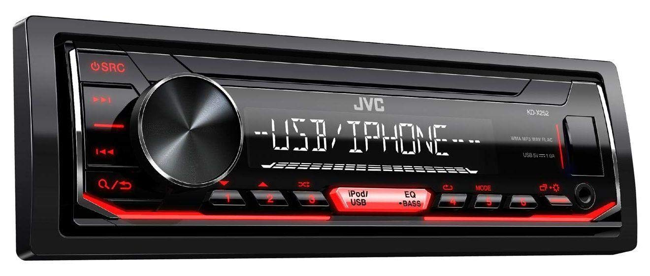 caraudio24 JVC KD-X252 1DIN AUX USB MP3 Autoradio f/ür FIAT Punto Grande Punto ab 05 grau