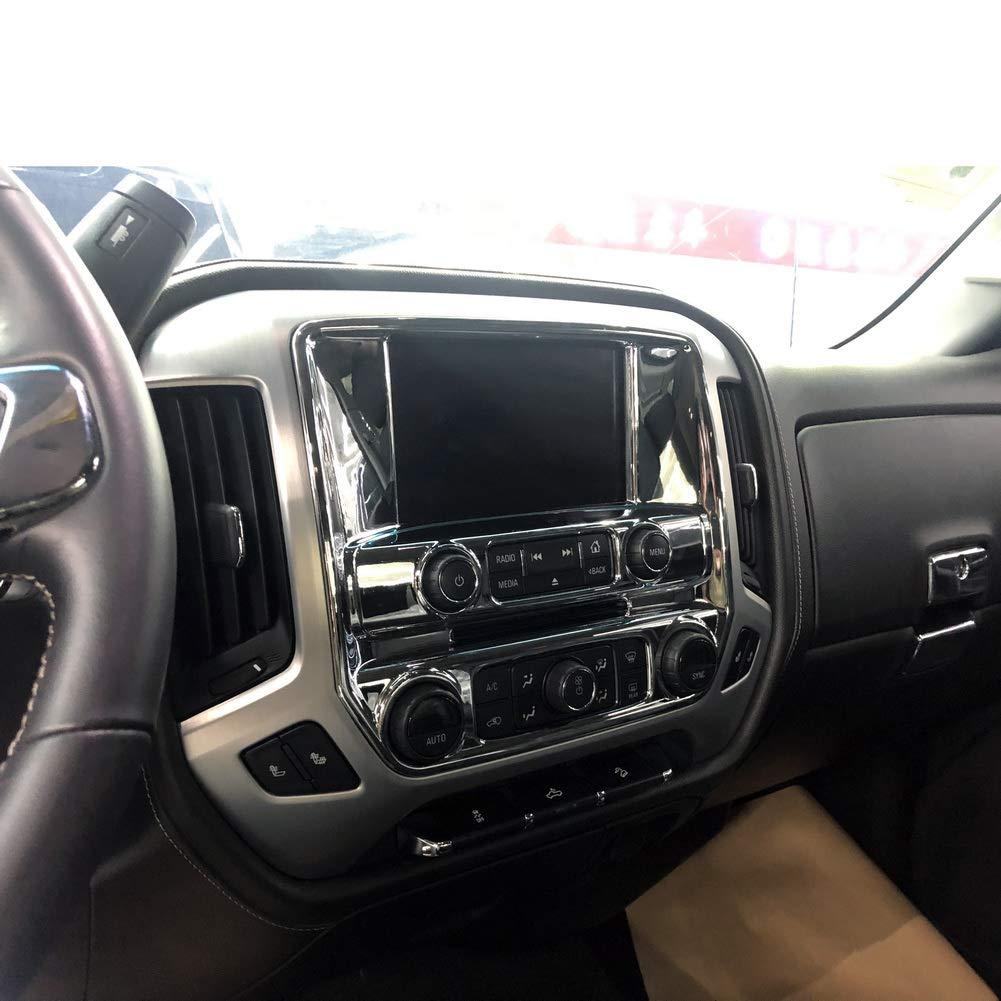 Chrome central navigation screen A//C panel cover trims molding for GMC sierra Chevrolet Silverado 2014 2015 2016 2017 2018 Accessories