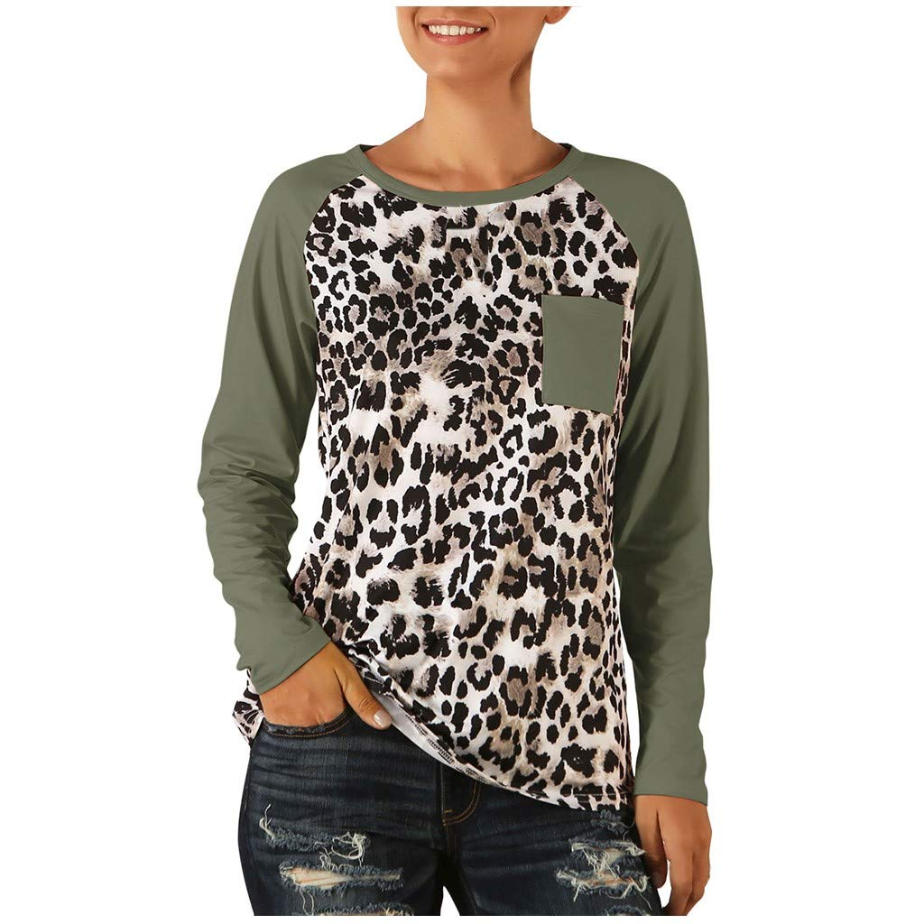 Women Blouse Raglan Sleeve Splice Leopard Print Patchwork T-Shirt Tunic Tops (XL, Green) by Ruichao Women Blouse