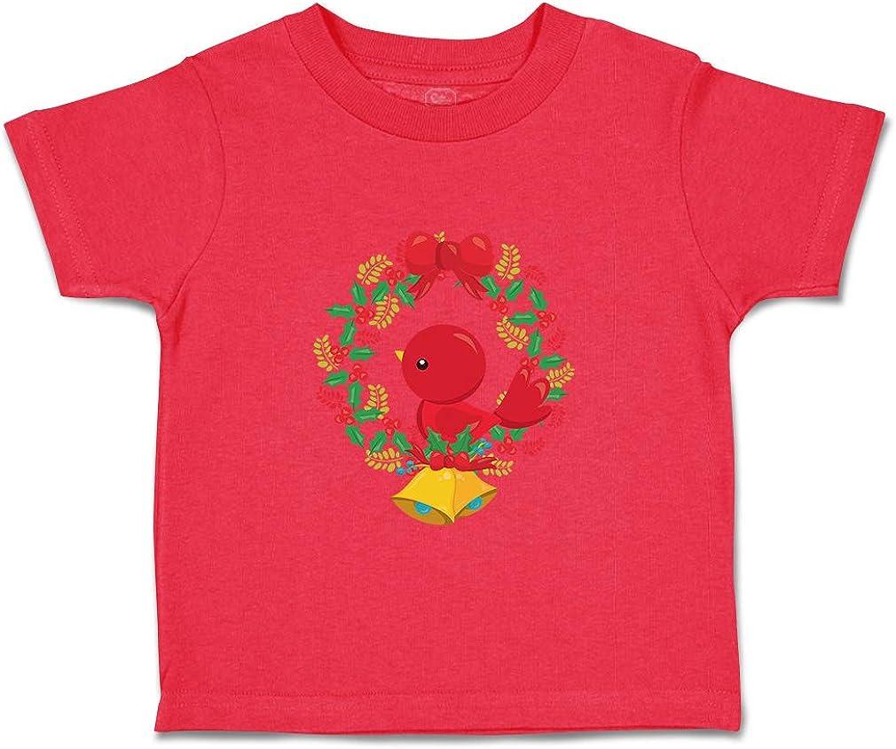 Custom Baby /& Toddler T-Shirt Red Bird Wreath Cotton Boy Girl Clothes