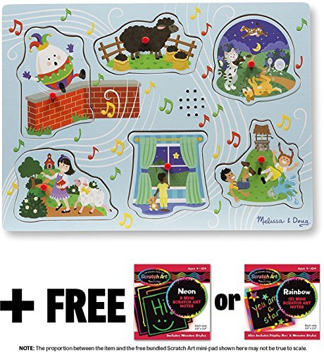 Sing-Along Nursery Rhymes 2: 6-Piece Sound Puzzle + FREE Melissa & Doug Scratch Art Mini-Pad Bundle (07375) (The Words To Mary Had A Little Lamb)
