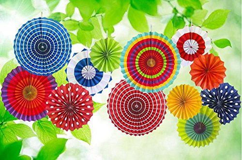 TSLIKANDO Hanging Paper Fans Decorations 12PCS Colorful Round Wheel Paper Fans Set for Party Birthday Events Wedding Supplies Flavor and Home (Small Fan Colorful compare prices)