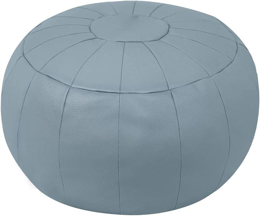 Rotot Decorative Pouf Cover, Ottoman, Bean Bag Chair, Footstool, Foot Rest, Storage Solution or Wedding Gifts (Unstuffed) (Light Grey)
