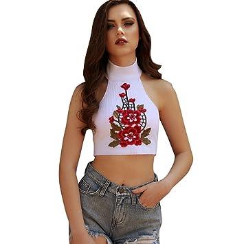 Camisetas cortas para mujer, Blusas de chaleco LILICAT® Blusas sin mangas con bordado de
