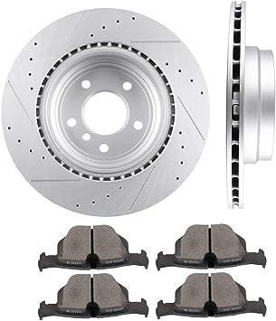 335i xDrive Front Rear  Slotted Brake Rotors+Ceramic Brake Pads Fit BMW 335xi