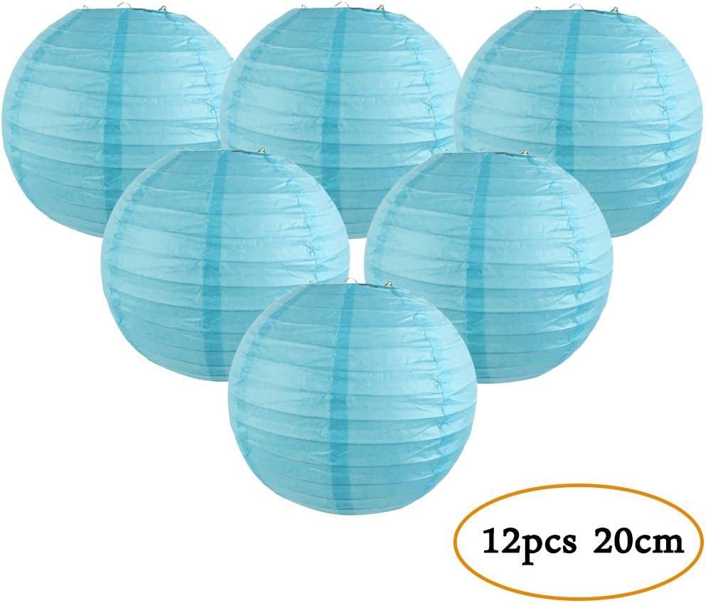 Maison Easy Joy Lanterne Papier Orange Decoration Lampion Chinois Abat-Jour en Papier Boule pour D/écoration de Mariage Anniversaire 12 pcs 20 cm F/ête
