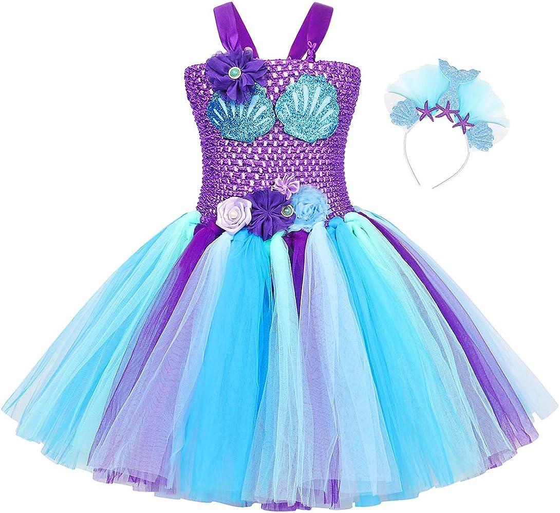 AmzBarley Little Girls Princess Mermaid Costume Outfits Birthday Party Cosplay Dress Up with Mermaid Headband