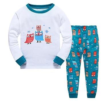 Taiycyxgan Boys Girls Owl Pajamas 100% Cotton Children Christmas 2 Piece  Sleepwear Blue 5T bcbb546cb