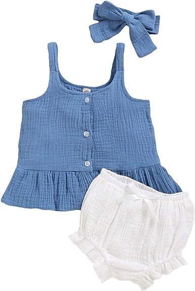 Haokaini 3 Piezas Bebé Niña Ropa de Verano Traje Camisa de Tiras + Pantalones Cortos + Diadema: Amazon.es: Ropa y accesorios