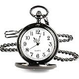 Jechin Men's Smooth Stainless Steel Case White Arabic Numerals Modern Pocket Watch