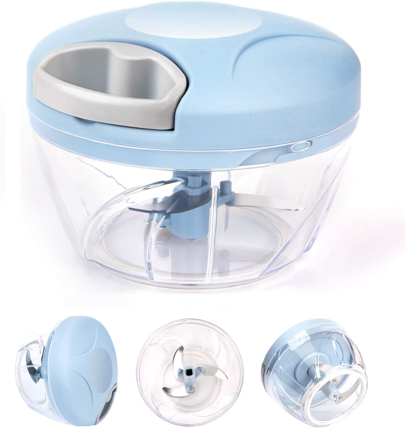 Yeaky Mini Food Chopper Pull Food, Veggie Chopper, Onion Chopper Manual Food Processor with Stainless Steel Blades, for Vegetable, Nuts, Garlic, Salad, Puree and Pestos