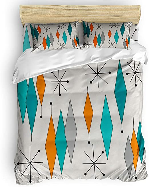 Amazon.com: Duvet Cover Queen Size   Mid Century Modern Diamond