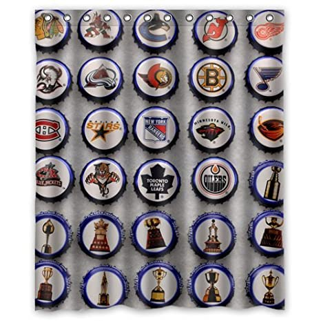 Custom It Cover NHL Hockey Design Stall Mildew Resistant Waterproof Bathroom Fabric Shower Curtain 60quot X 72quot Amazonca Sports Outdoors