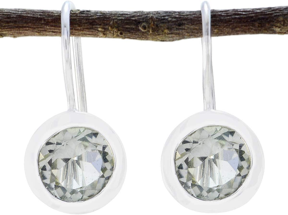 joyas plata amatista verde atractiva una piedra preciosa con forma redonda pendiente exclusivo de plata esterlina facetada