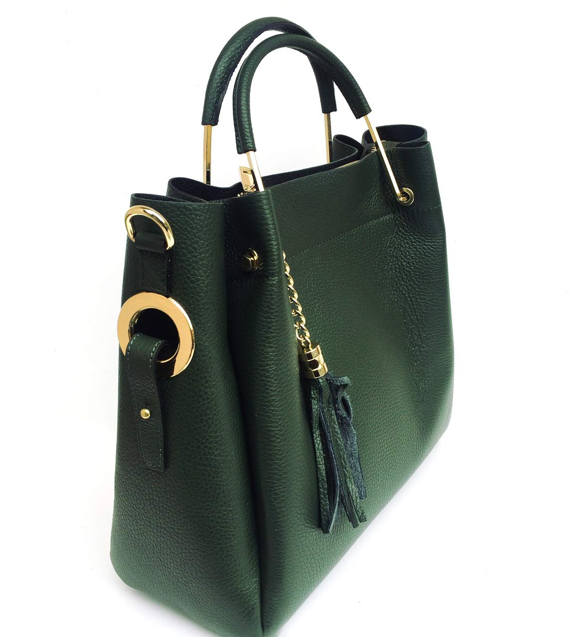 Superflybags handväska modell Manuela superflybags handväska och axelväska i äkta läder tillverkad i Italien Mörkgrön