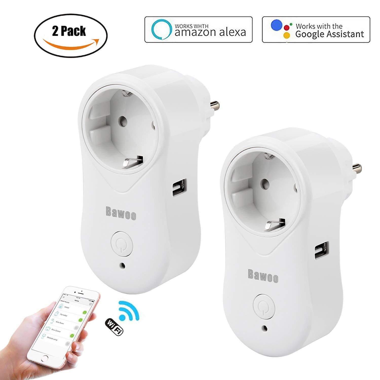 WLAN Smart Steckdose Wifi Stecker, 2 Pack Funksteckdose Arbeitet mit  Alexa, Google Home, Smartphone und IFTTT, mit USB-Port Fernsteuerung und Zeitsteuerung Bawoo MIWS80207