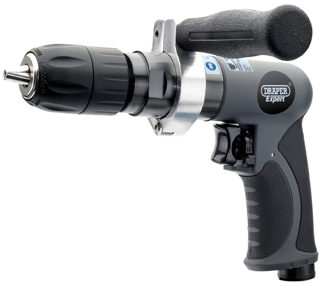 Draper 14258 3/8-inch Drive Composite Body Soft Grip Reversible Air Drill with 10mm Keyless Chuck
