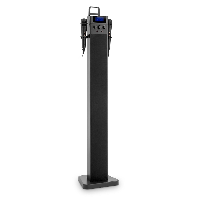 auna HiTower • Karaoke Player Set • Karaoke Anlage • Bluetooth • 2x Kabelmikrofon • Radio-Tuner • USB • AUX • Turm-Lautsprecher • Fernbedienung • pink AHTP-2100-sbnb