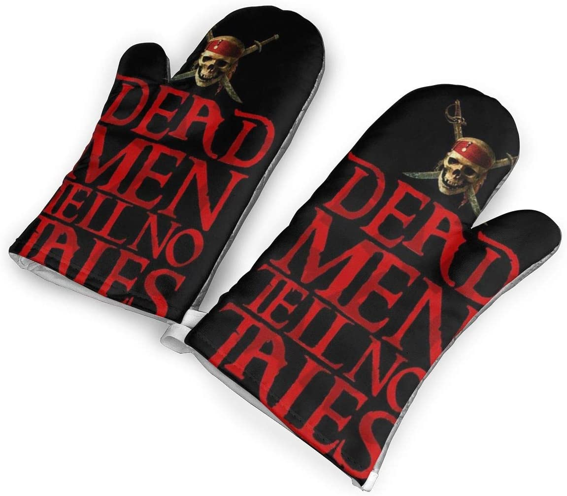 VshiXzno Pirates of The Caribbean Dead Oven Mitts,Professional Heat Resistant to 500¡« F,1 Pair of Non-Slip Kitchen Oven Gloves for Cooking,Baking,Grilling,Barbecue Potholders