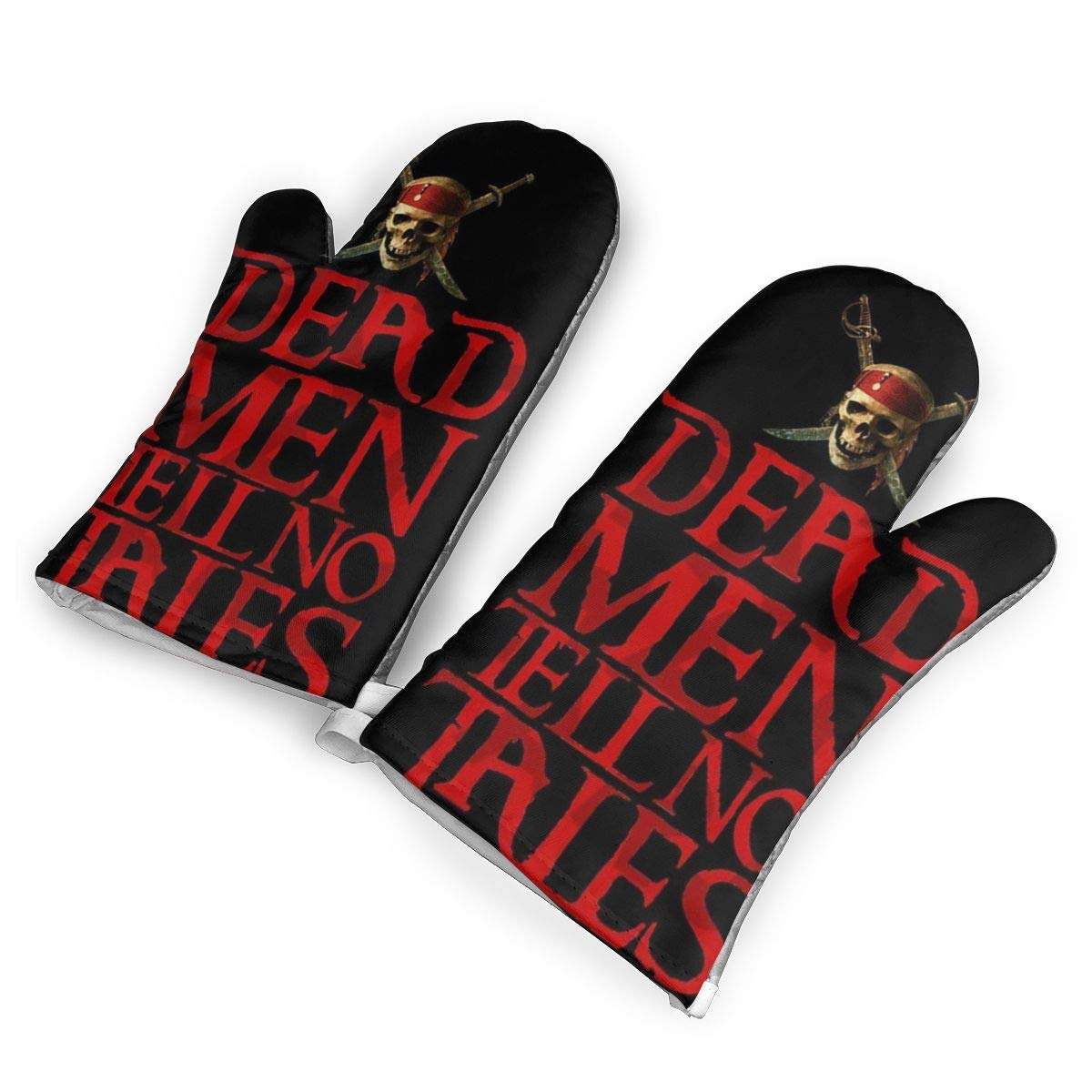 QOQD Pirates of The Caribbean Dead Oven Mitts with Polyester Fabric Printed Pattern,1 Pair of Heat Resistant Oven Gloves for Cooking,Grilling,Barbecue Potholders