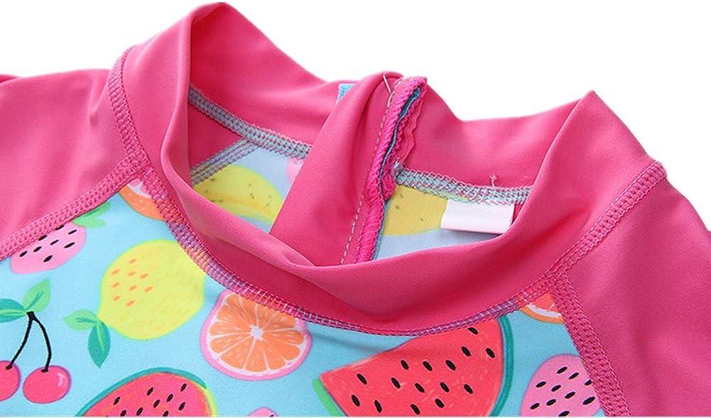Kid Baby Girl Long Sleeve Swimsuit Swimwear One Piece Rashguard UPF 50 Bathing Suit Sunsuit Zip 4-10t