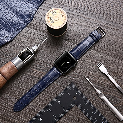 LUXSUISH Genuine Leather Watch Strap Replacement with Adapter Clasp Compatible Apple Watch S4/S3/S2/S1 Fits 42MM (Sea Blue 42mm)