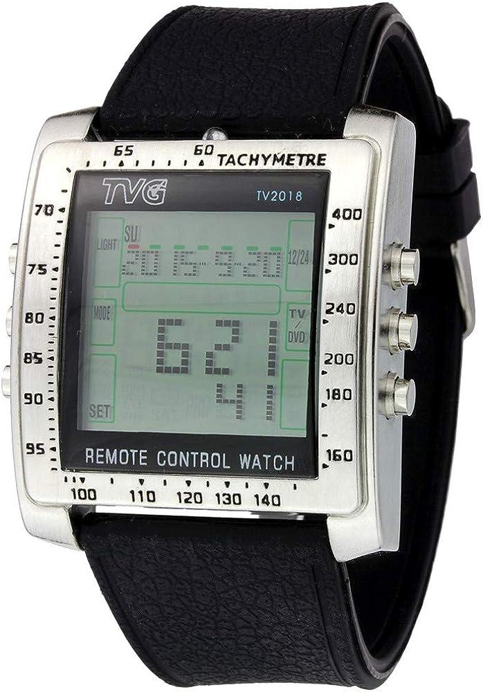 Reloj digital para hombre de Fenkoo; con mando a distancia para TV, DVD y alarma, diseño militar, correa de silicona