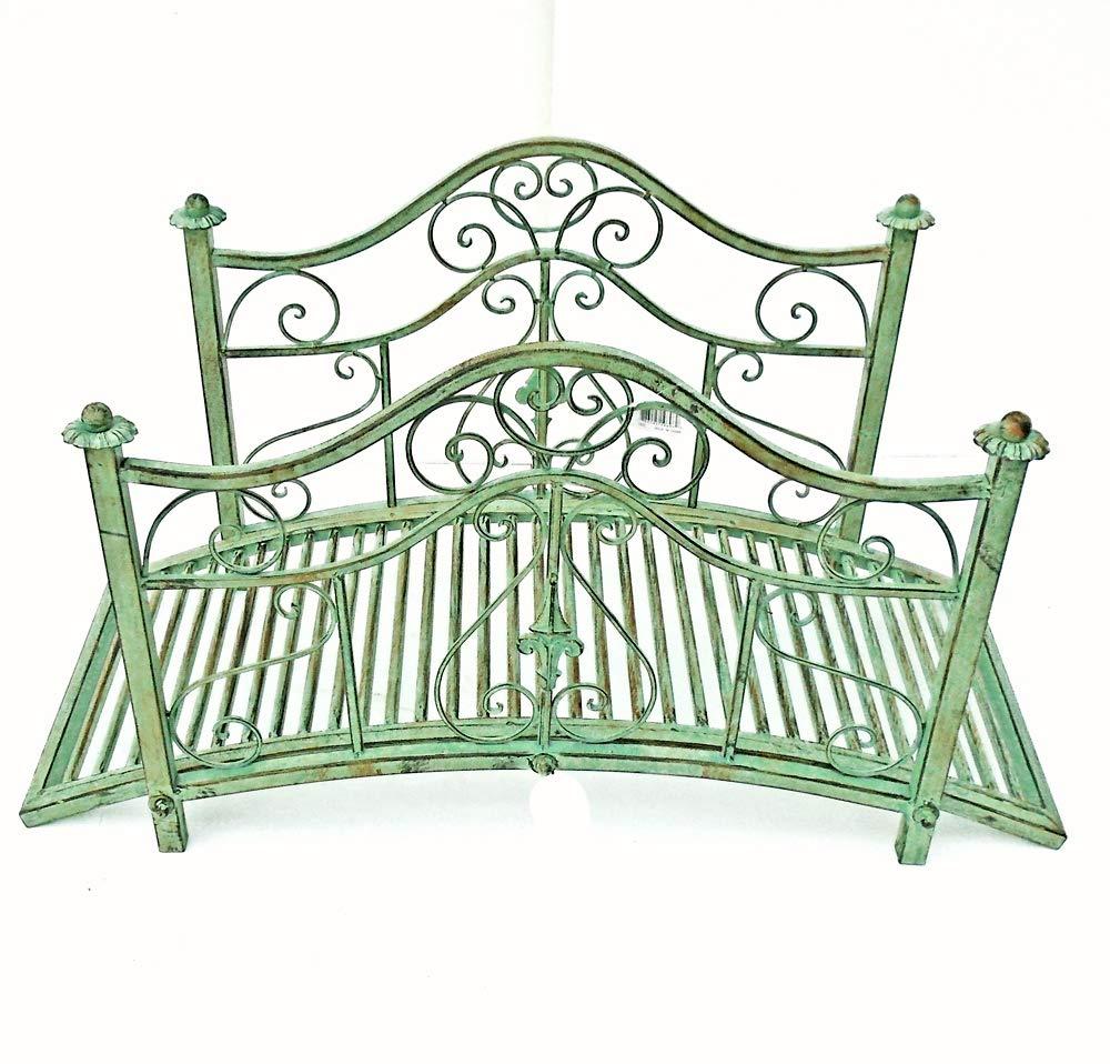 Garden Bridge 21''x40'' Iron - Rustic Green Finish - Garden Decor
