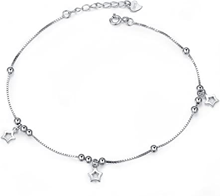 V/énus Mujer Joyas,Cadena de Plata tobillera de la mujer con estrellas 925 plata de ley joyas con amor ... eterno Amor - Color Blanco J