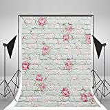 DODOING 3x5ft White Brick Wall Photography Background Photo Backdrops Pink Flowers Studio Props for Baby Newborn