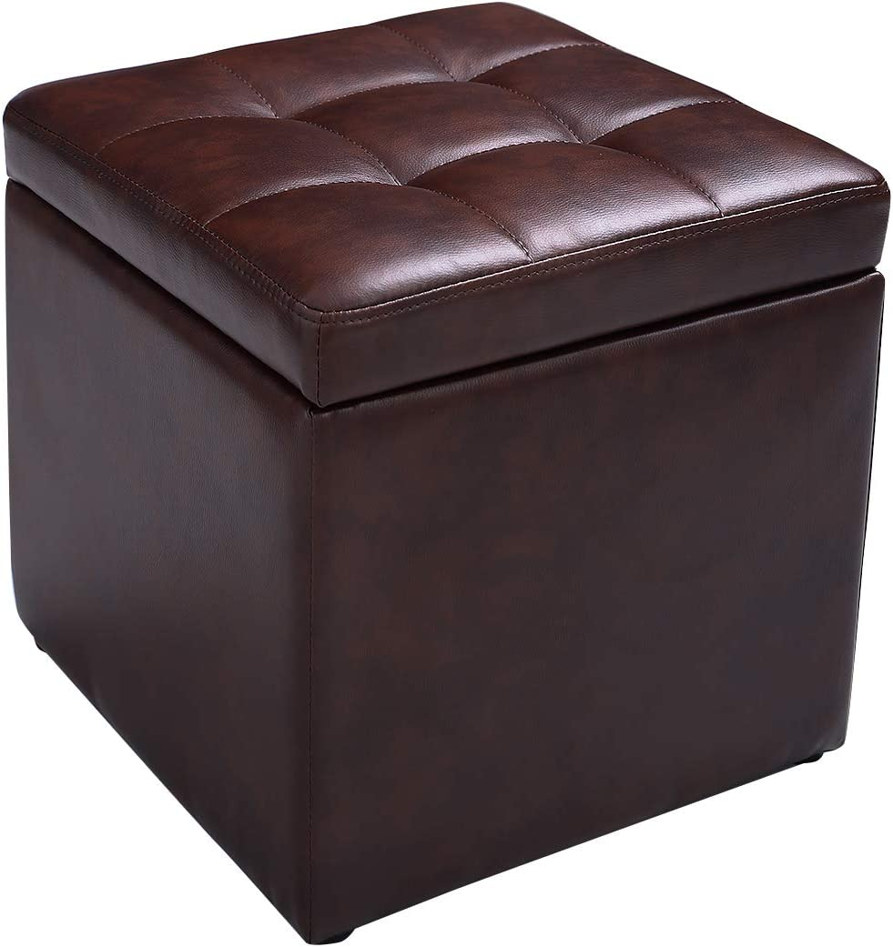 """Giantex 16"""" Cube Ottoman Pouffe Storage Box Lounge Seat Footstools W/Hinge Top and Bottom Feet Home Living Room Bedroom Furniture Storage Ottoman 16""""×16"""" ×16""""Footrest Stool (Brown)"""