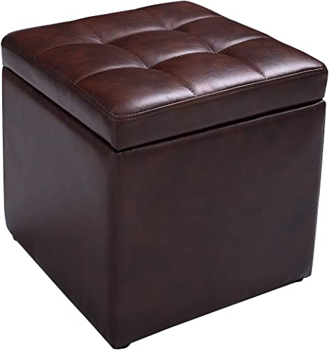 Giantex 16 Cube Ottoman Pouffe Storage Box Lounge Seat Footstools W/ Hinge Top and Bottom Feet Home Living Room Bedroom Furniture Storage Ottoman 16 16 16 Footrest Stool Red Brown