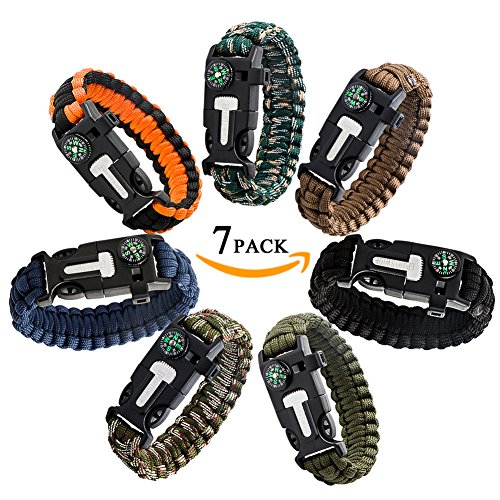 Epartswide Multifunctional Outdoor Survival Paracord Bracelet with Flint Fire Starter,Compass,Emergency Whistle&Knife/Scraper Pack of 7 by Epartswide