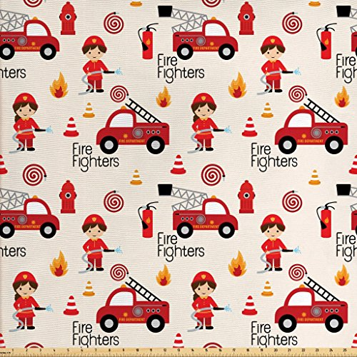 - Lunarable Fire Truck Fabric by The Yard, Little Boys and Girls in Uniforms Fire Fighters Theme Career Profession Pattern, Decorative Fabric for Upholstery and Home Accents, Multicolor
