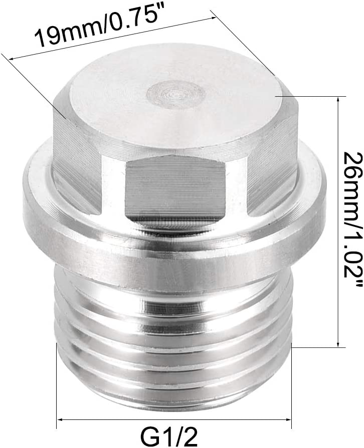 2 unidades Conector macho de cabeza hexagonal macho G1//2 Sourcingmap acero inoxidable 304 de rosca s/ólida resistente a la corrosi/ón